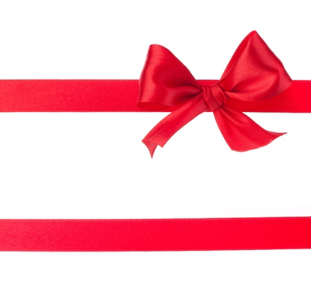 Festive gift ribbon and bow isolated on white Stock Photo - 11061692