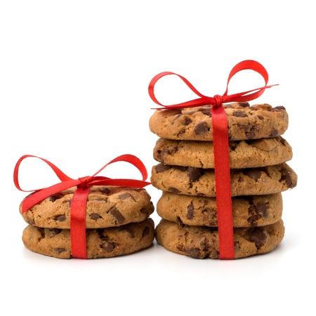 Festliche verpackt Schokolade Gebäck Kekse isoliert auf weißem Hintergrund