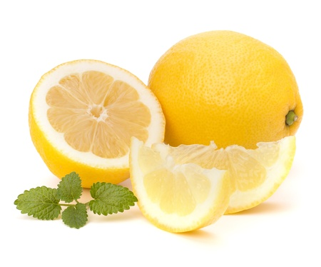 organic lemon: Lemon and citron mint leaf isolated on white background
