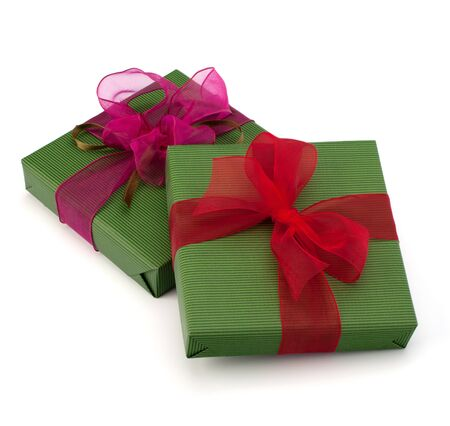 festive gift box stack isolated on white background photo