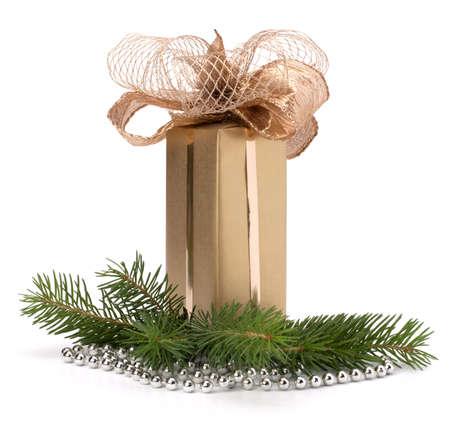 Gold gift box isolated on white background photo