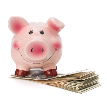 Money and piggy bank isolated on white background. photo
