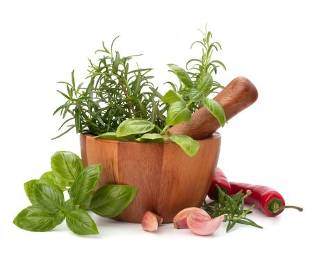 fresh flavoring herbs and spices in wooden mortar isolated on white background photo