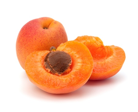 apricots: Ripe apricot fruit isolated on white background Stock Photo