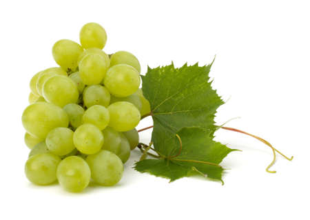 Ripe grape whith leaf isolated on white background Stock Photo - 11061482