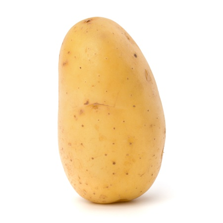 New potato isolated on white background close up photo