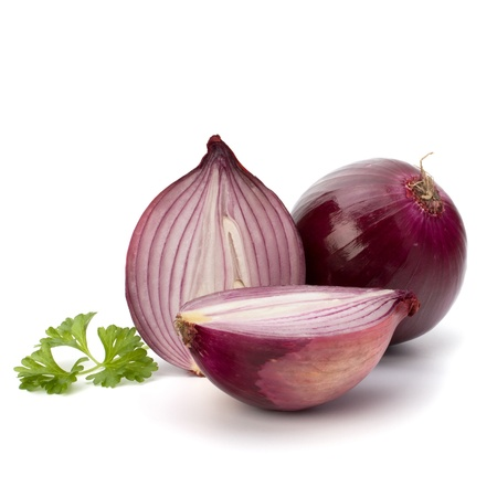 Red sliced onion and fresh parsley still life isolated on white background photo