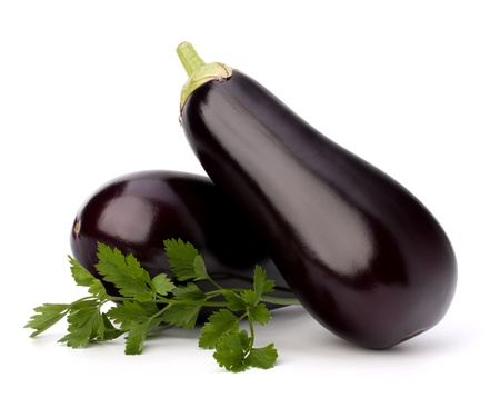 eggplant or aubergine and parsley leaf on white background photo
