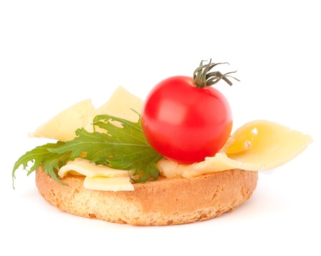 fresh slice of bread: open healthy sandwich with cheese  isolated on white background