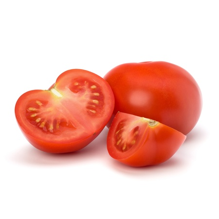 Tomato vegetable parts isolated on white background photo