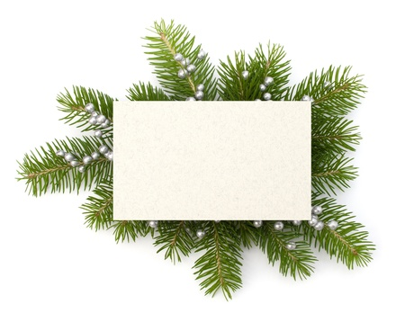 religious life: Christmas decoration with greeting card isolated on white background Stock Photo
