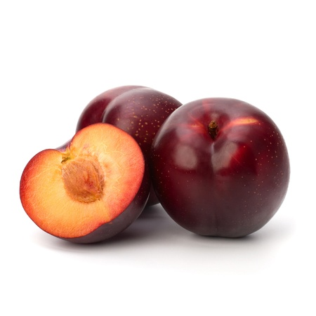 Red plum fruit isolated on white background photo