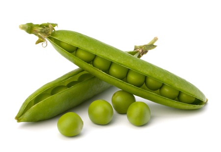 peas in a pod: Fresh green pea pod  isolated on white background Stock Photo