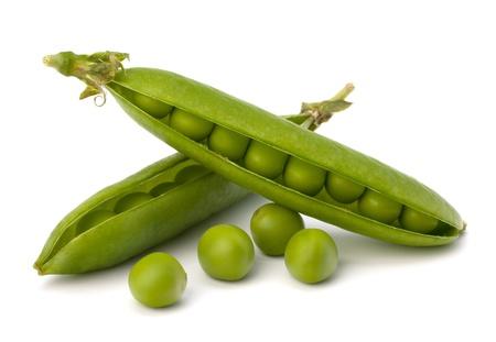 Fresh green pea pod  isolated on white background Standard-Bild