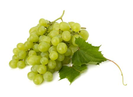 Ripe grape whith leaf isolated on white background photo