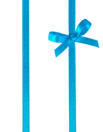 blue silk: Festive gift ribbon and bow isolated on white