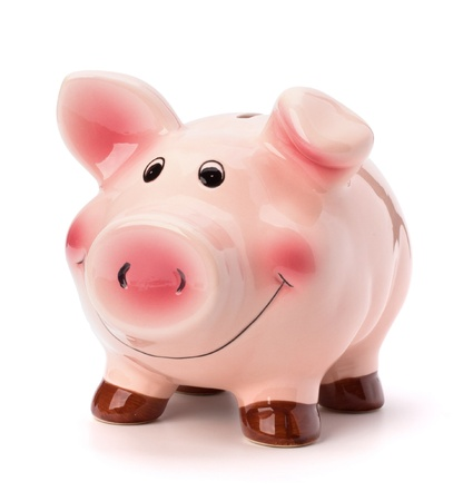 Piggy bank isolated on white background photo