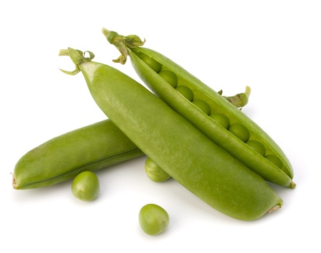Fresh green pea pod  isolated on white background Stock Photo - 13192735