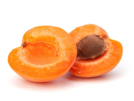 intact: Ripe apricot fruit isolated on white background Stock Photo
