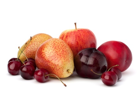 sour cherry: Fruit variety isolated on white background Stock Photo