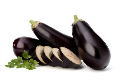 eggplant or aubergine and parsley leaf on white background Stock Photo - 13192772