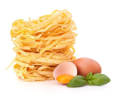 Italian pasta tagliatelle nest isolated on white background Stock Photo - 13298118