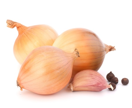 onion peel: Onion and garlic clove isolated on white background