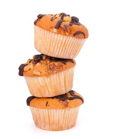 Stacked muffins  isolated on white background Stock Photo - 13297446