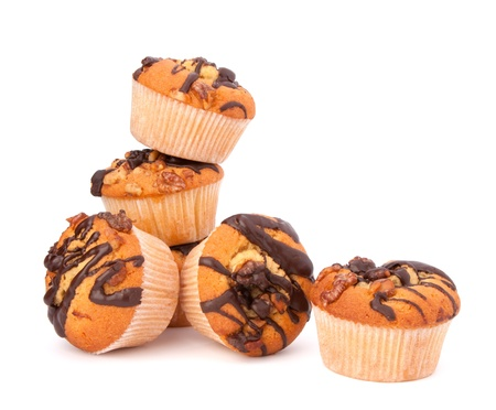 Stacked muffins  isolated on white background photo