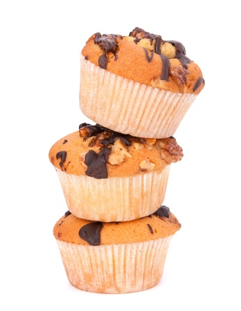 Stacked muffins  isolated on white background Stock Photo - 13297899