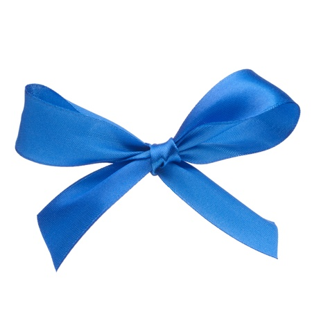 Festive blue gift  bow isolated on white background photo