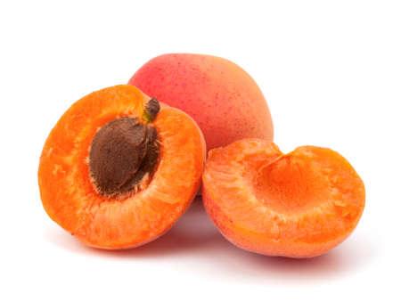 Ripe apricot fruit isolated on white background photo