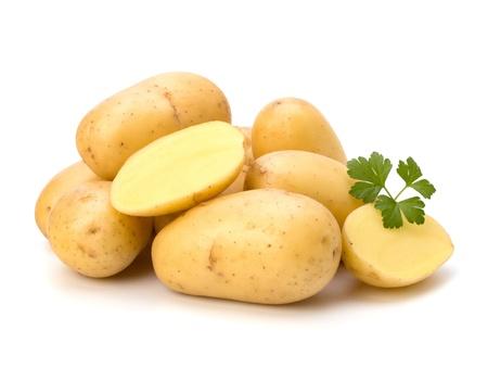 batata: Nueva patata y perejil verde aislado en el fondo blanco de cerca Foto de archivo