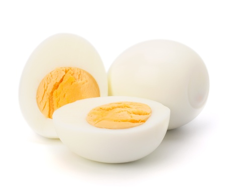 Shell boiled egg isolated on white background photo