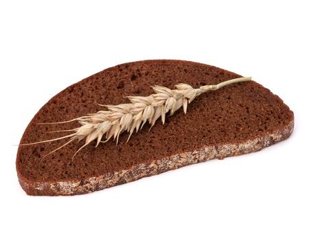 rye bread isolated on white background photo
