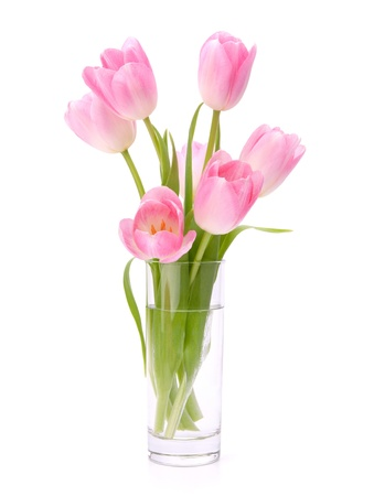 matherday: Pink tulips bouquet in vase isolated on white background