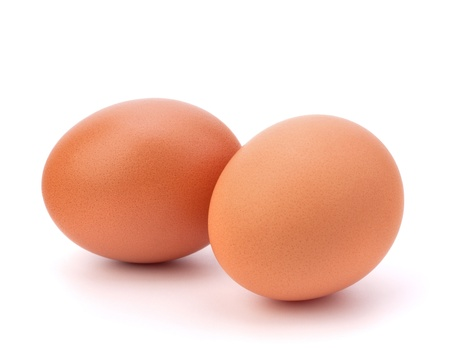two eggs isolated on white background photo