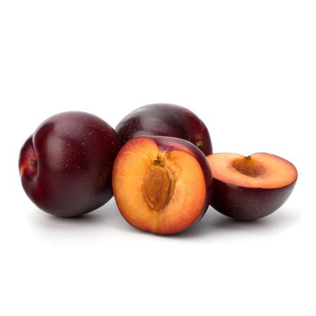 Red plum fruit isolated on white background photo