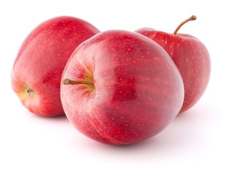 three red apples isolated on white background Stock Photo - 13298469