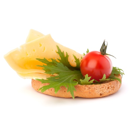 open healthy sandwich with cheese  isolated on white background