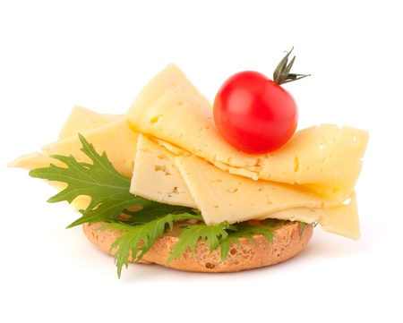 open healthy sandwich with cheese  isolated on white background Stock Photo - 13332765