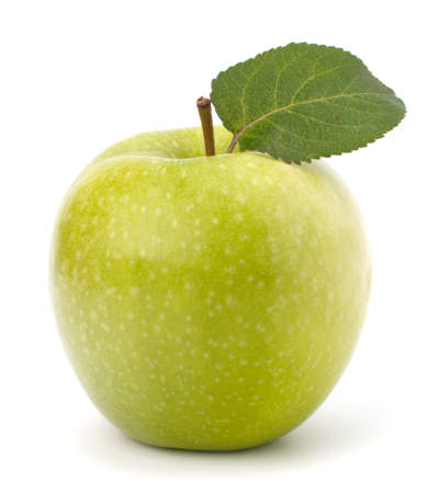 Sweet green apple with  leaf isolated on white background Stock Photo - 13332671