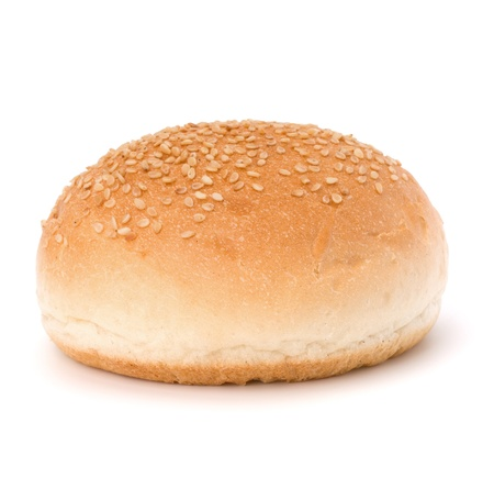 Round sandwich bun with sesame seeds isolated on white background photo