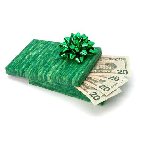 Dotation concept. Money inside gift box isolated on white background. photo