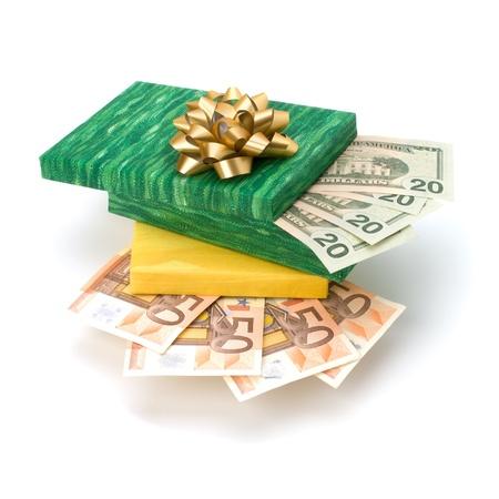 Dotation concept. Money inside gift box isolated on white background. Stock Photo - 13336141