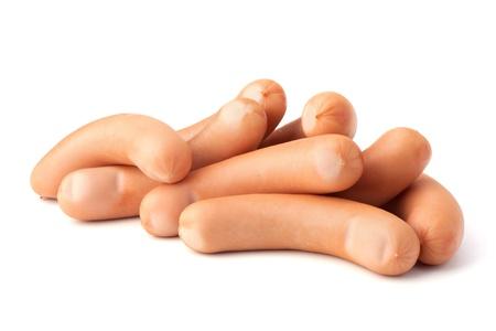 saucisse: Saucisse de Francfort isol� sur fond blanc