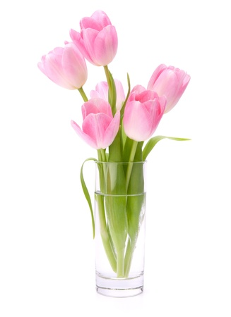 vase: Pink tulips bouquet in vase isolated on white background