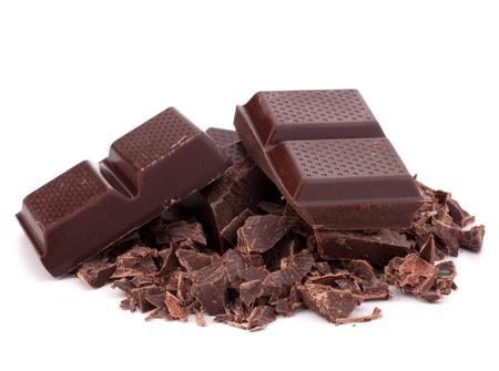 chopped: Chopped chocolate  bars  isolated on white background