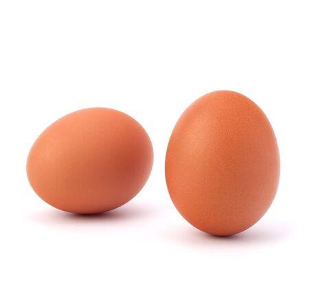 chicken egg: two eggs isolated on white background Stock Photo