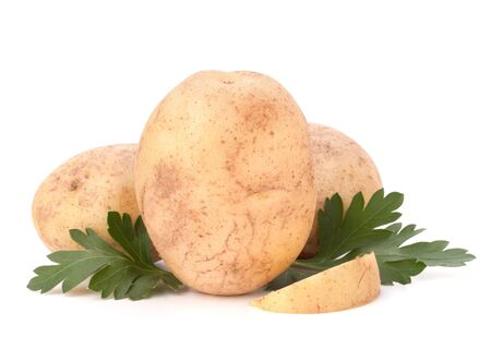 potato and parsley leaves isolated on white background cutout photo